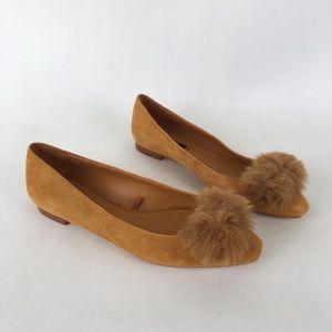 Zara Suede Pompom Flats! Size 37 ✨